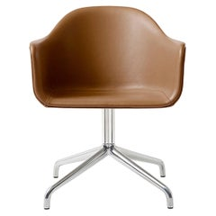 Harbour Chair, Cognac Leather Dining Chair with Polished Aluminum Swivel Base