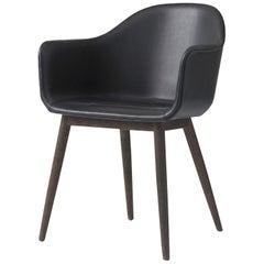 "Harbour Chair, Dark Oak Legs and Black ""Dakar"" Leather"