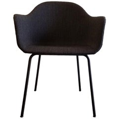 Harbour Chair, Legs in Black Steel and a Fabric Covered Shell, Charcoal