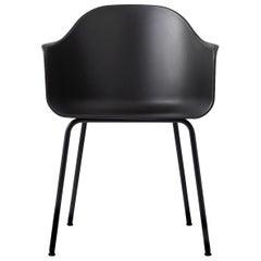 Hafen-Stuhl, Beine aus Schwarzem Stahl und Schwarze Sitzschale