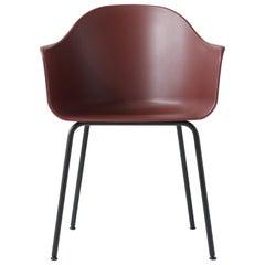 Hafen-Stuhl, Beine aus Schwarzem Stahl und Sitzschale in Gebranntem Rot