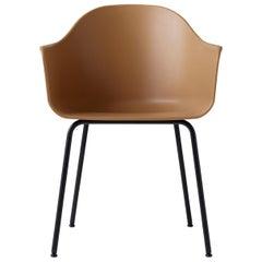 Hafen-Stuhl, Beine aus Schwarzem Stahl und Sitzschale in Brandt-Gelb