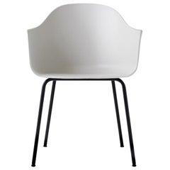 Hafen-Stuhl, Beine aus Schwarzem Stahl und Sitzschale in Hellgrau