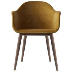 Harbour Chair, Legs in Dark Stained Oak and Orange Velvet Uphosltery