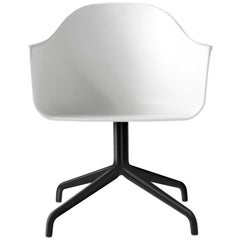 Harbour Chair, Swivel Base in Black Steel and Light Grey Shell