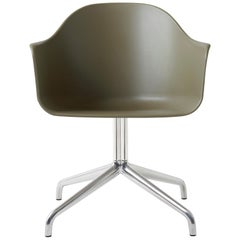 Harbour Chair, Swivel Base in Polished Aluminum and with Olive Shell
