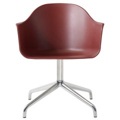 Harbour Chair, Swivel Base in Polished Aluminum, Burning Red Shell