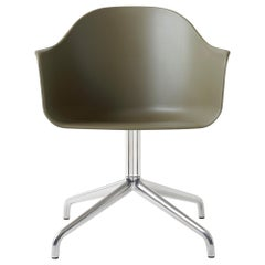 Harbour Chair, Swivel Base in Polished Aluminum, Olive Shell
