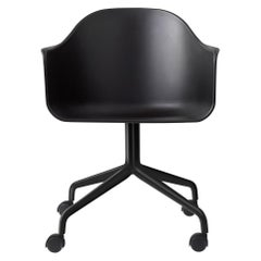 Harbour Chair, Swivel Base with Black Steel Casters, Black Shell