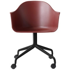 Harbour Chair, Swivel Base with Black Steel Casters, Burning Red Shell