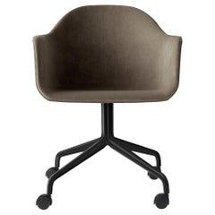 Harbour Chair, Swivel Base with Black Steel Casters & Grey Velvet