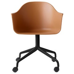 Harbour Chair, Swivel Base with Black Steel Casters, Khaki Shell