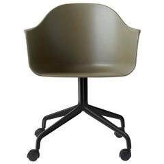Harbour Chair, Swivel Base with Black Steel Casters, Olive Shell