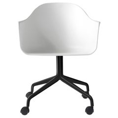 Harbour Chair, Swivel Base with Black Steel Casters, White Shell