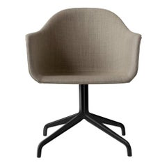 Harbour Chair, Swivel Chair, Black Welded Steel with Casters, Sandy Brown Fabric