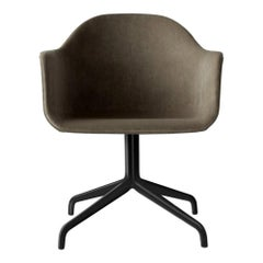 Harbour Chair, Swivel Chair with Black Welded Steel and Grey Velvet 'CA7832/078'