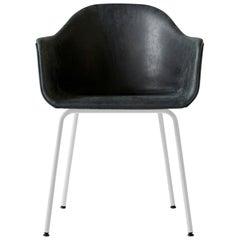 """Harbour Chair, White Legs, Nevotex """"Dakar"""" Black Leather"""