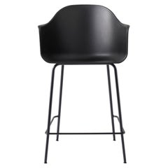 Harbour Counter Chair, with Black Welded Steel Legs and Black Shell