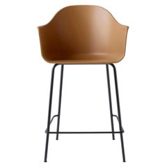 Harbour Counter Chair, with Black Welded Steel Legs and Khaki Shell