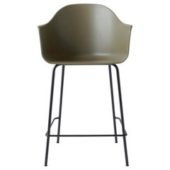 Harbour Counter Chair, Black Welded Steel Legs and Olive Shell