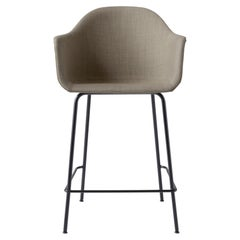 Harbour Counter Chair, with Black Welded Steel and Sandy Brown Fabric