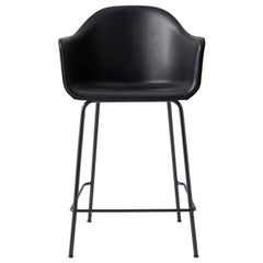 Harbour Counter Chair, Black Welded Steel and Black Leather 'Dakar 0842'