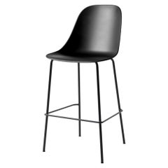 Harbour Side Bar Chair, Base in Black Steel, Black Shell