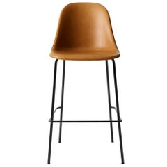 "Harbour Side Bar Chair, Base in Black Steel, Nevotex ""Dakar"" #0250 'Cognac'"