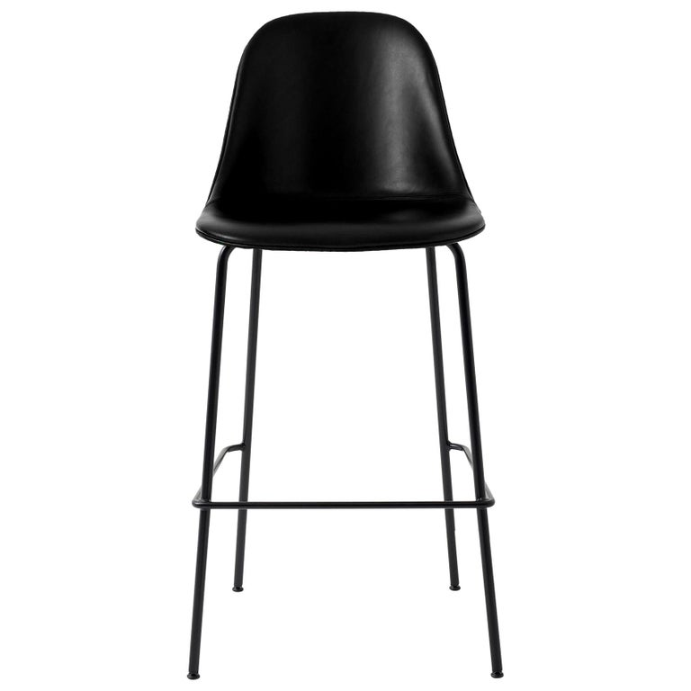 "Harbour Side Bar Chair, Base in Black Steel, Nevotex ""Dakar"" #0842 'Black' For Sale"