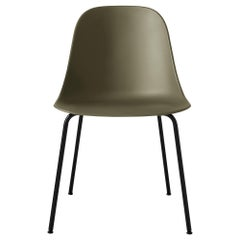 Harbour Side Chair, Base in Black Steel, Olive Shell