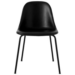 Harbour Side Chair, Base in Black Steel, Shell in Black Leather