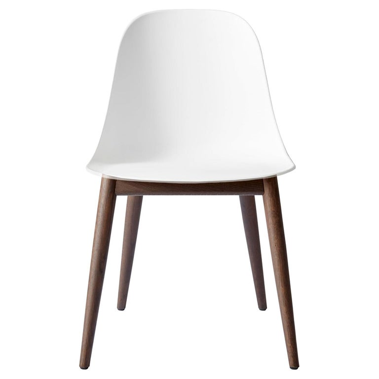 Harbour Side Chair, Base in Dark Oak, White Shell For Sale