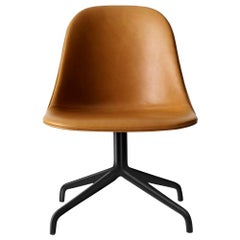 "Harbour Side Chair, Black Steel Swivel Base, Nevotex ""Dakar"" #0250 'Cognac'"