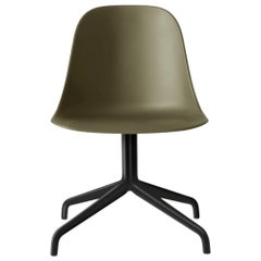 Harbour Side Chair, Black Steel Swivel Base, Olive Shell