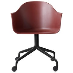 Harbour Side Chair, Black Steel Swivel Base with Caster, Burning Red Shell