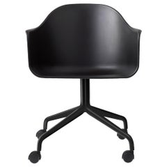Harbour Side Chair, Black Steel Swivel Base with Casters and Black Shell