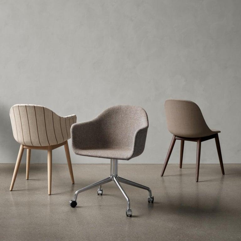 Scandinavian Modern Harbour Side Chair, Black Steel Swivel Base with Casters & Black Shell For Sale