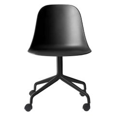 Harbour Side Chair, Black Steel Swivel Base with Casters & Black Shell