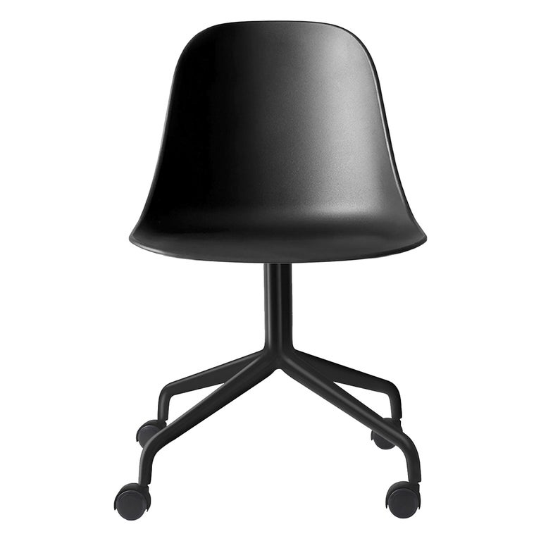 Harbour Side Chair, Black Steel Swivel Base with Casters & Black Shell For Sale