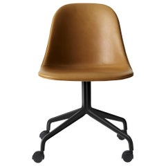 Harbour Side Chair, Black Steel Swivel Base with Casters & Cognac Leather Shell