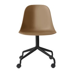 Harbour Side Chair, Black Steel Swivel Base with Casters and Khaki Shell