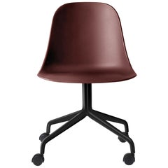 Harbour Side Chair, Black Steel Swivel Base with Casters and Red Shell
