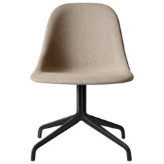 Harbour Side Chair, Black Steel Swivel with Black Caster and Sandy Brown Fabric