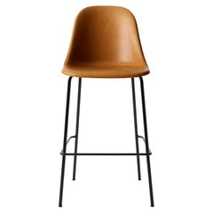 Harbour Side Chair, Counter Height Base in Black Steel, Cognac Dakar Shell