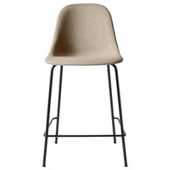 Harbour Side Chair, Counter Height with Black Welded Steel & Sandy Brown Fabric