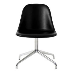 Harbour Side Chair, Polished Aluminum Swivel Base, Black Dakar Leather