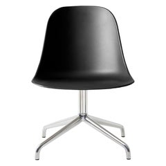 Harbour Side Chair, Polished Aluminum Swivel Base, Black Shell