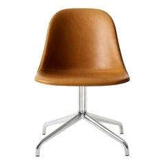 Harbour Side Chair, Polished Aluminum Swivel Base, Cognac Dakar Leather