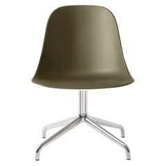 Harbour Side Chair, Polished Aluminum Swivel Base, Olive Shell