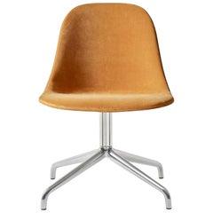 Harbour Side Chair, Polished Aluminum Swivel Base with Orange Velvet